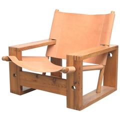 Børge Mogensen Style Leather Crate Lounge Chair