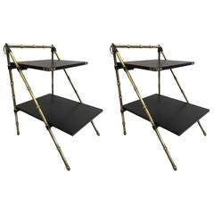 Pair of French Hand-Stitched Leather & Faux Bamboo Side Tables by Jacques Adnet