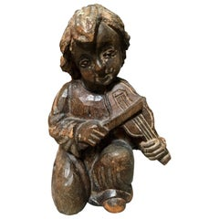19th Century Hand-Carved Statue of Boy Playing Violin