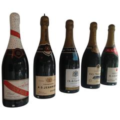 Collection of Vintage French Grand Scale Replica Champagne Bottles, circa 1940