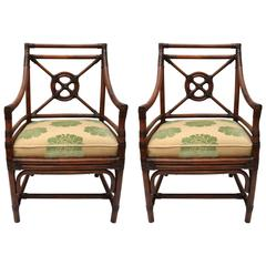 Pair of McGuire Rattan Armchairs with Gold and Green Upholstery