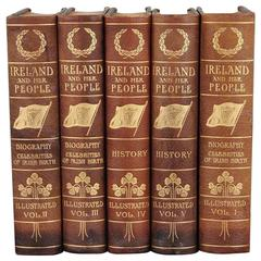 Ireland and Her People Five Volumes by Thomas Fitzgerald Leather-Bound