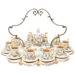 Mid-20th Century Capodimonte Porcelain Demitasse Tea Service for Ten