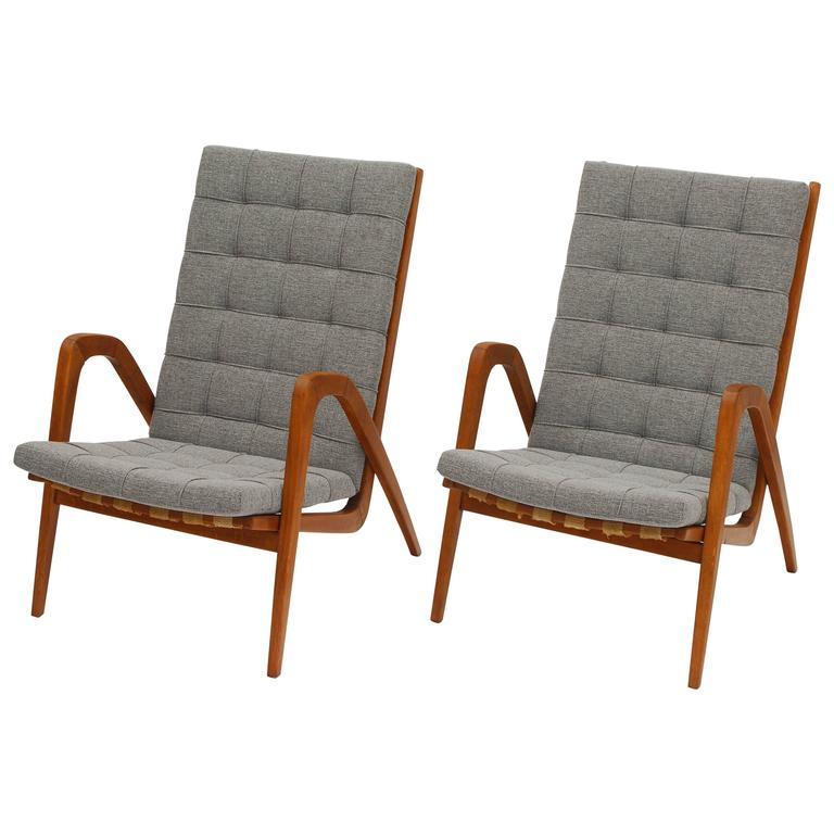 Pair of Wooden Easy Chairs by Jan Vanek for Krasna Jizba