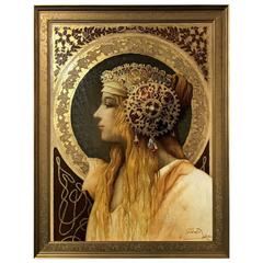 Phenomenal Oil on Canvas Portrait with Gold Leaf