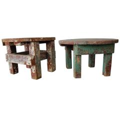 Pair of Early 20th Century Rustic Farm Stools with Original Paint