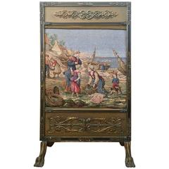 Carved Fire Screen on Cabriole Legs and Claw Feet with Tapestry Panel