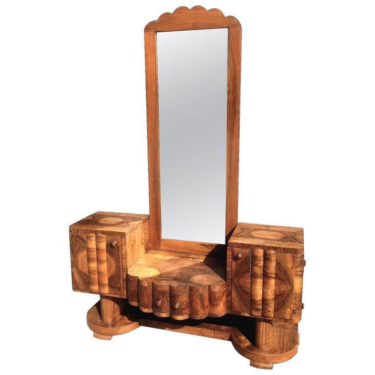 1930s Art Deco Walnut Dressing Mirror