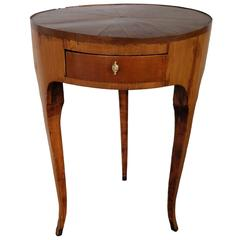 19th Century French Inlaid Wood Three-Legged Side Table