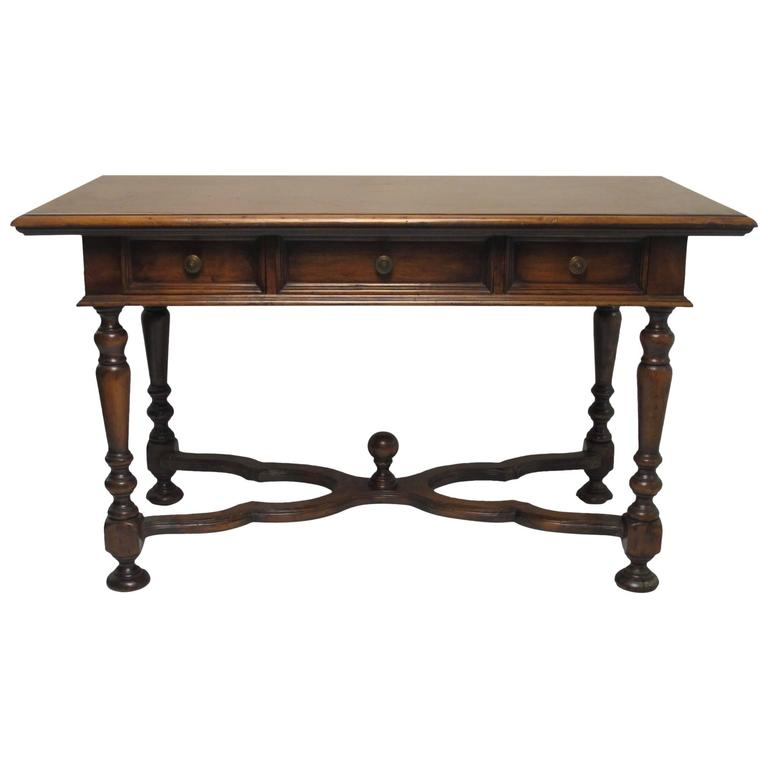 Louis XIII Style Walnut Writing Table or Desk, France Late 19th Century