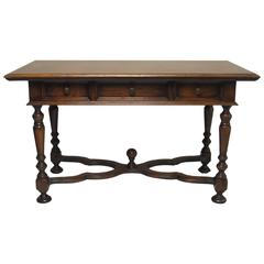 French Louis XIII Style Walnut Writing Table or Desk