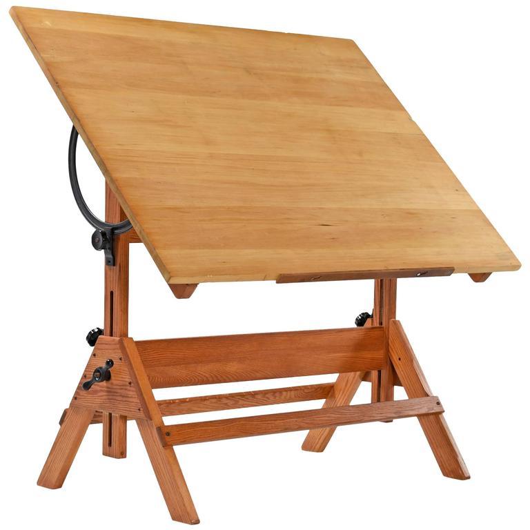 1940s hamilton oak drafting table 1 - Drafting Tables