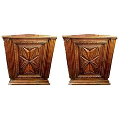 Pair of 19th Century French Walnut Louis XIII-Style Corner Cabinets