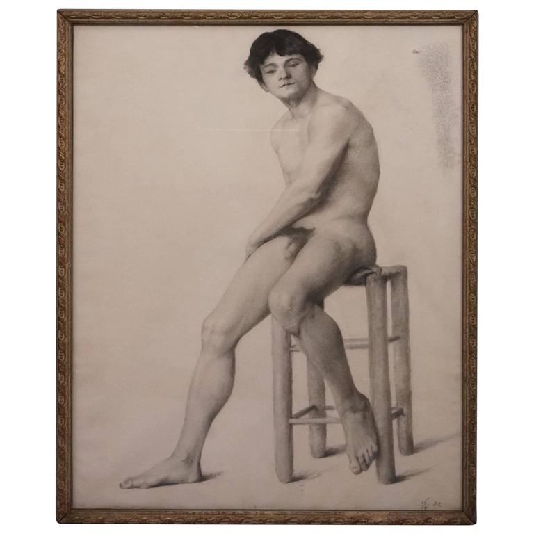 19th Century Male Nude Academic Drawing