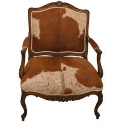 Large French Louis XV Carved Oak Armchair Upholstered in Horse Hair