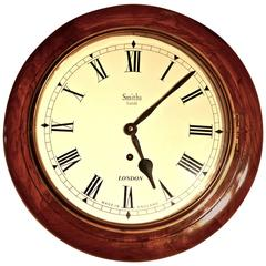 Traditional English School or Railway Clock, 1910 Smiths Enfield Wall Clock