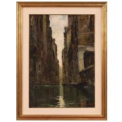 Italian Signed Painting View Of Venice Oil on Canvas From 20th Century