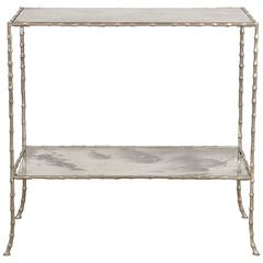 Faux Bamboo Brass and Verre Églomisé Occasional Table Attributed to Baguès