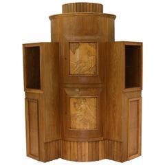 Corner Cabinet Attributed to Otto Maraini Mirror Burl Vintage, Italy, 1940s