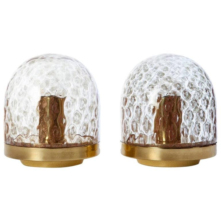 1970s Murano Glass and Brass Table Lamps
