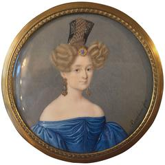 Neoclassical 19th Century Lady Portrait Miniature on Ivory Signed Bacchini