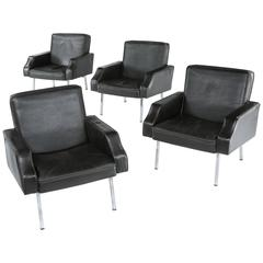 Pair of Black Leather Easy Chairs