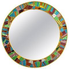 Spanish 1960s Multicolor Glass Mosaic Circular Mirror