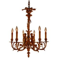 French Ormolu Six-Light Chandelier after a Model by Pierre GouthièRe
