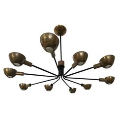 1950s Ten-Arm Ceiling Lamp Produced by Stilnovo