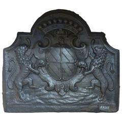 Rare 17th Century Antique Iron Fireback for Fireplace, Coat of Arms and Lions