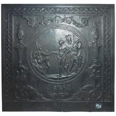 Rare French Baroque Antique Cast-Iron Fireback, Judgment of Paris
