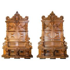 Monumental Pair of Console Cabinets in Oak and Ebony Wood
