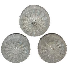 Three Ice Crystal Pattern Limburg Style Flush Mount