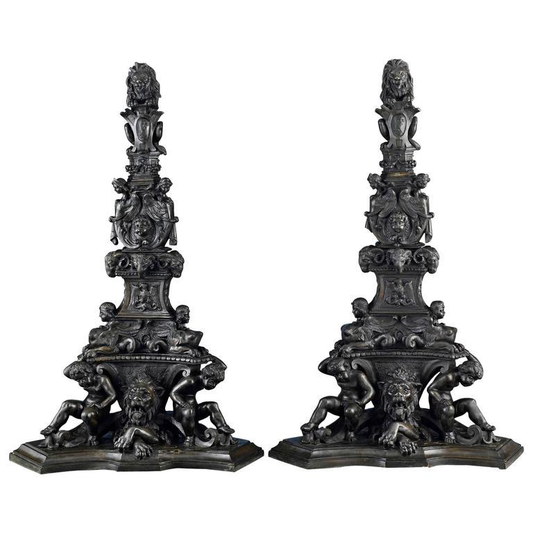 19th Century Italian Bronze Andirons