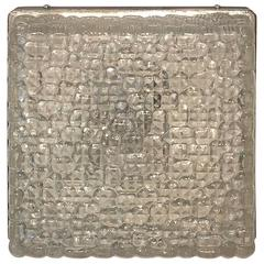 Textured Grid Pattern Square Glass Flush Mount Limburg Style