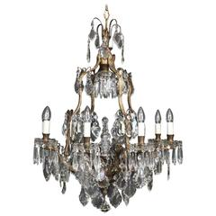 French Bronze and Crystal Nine-Light Chandelier