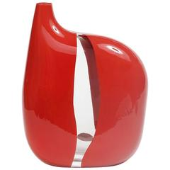 Asymmetric Glass Vase by Sergio Asti