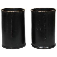Rare Vintage Leather Wastebaskets by Carl Auböck