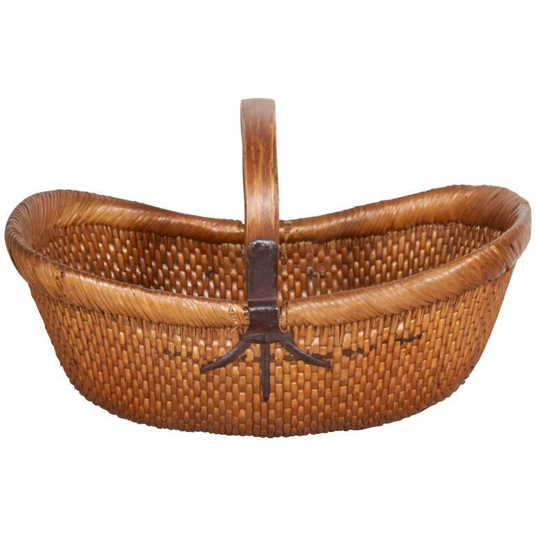 Handmade Antique Willow Flower Basket