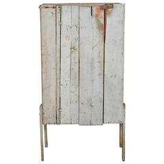Quirky Rustic Cabinet with Single Wood Plank Door and Original Paint