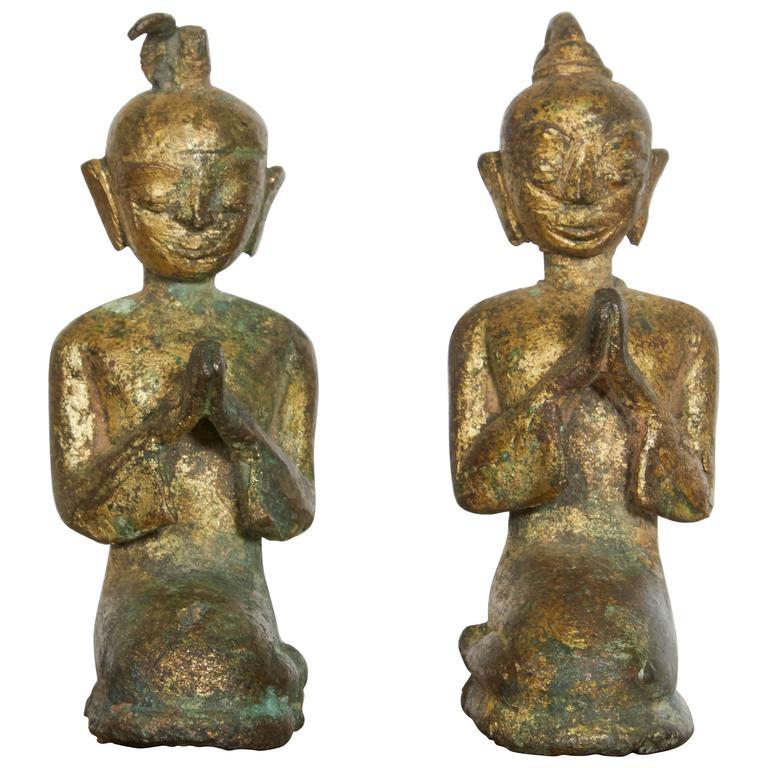 Pair of Miniature 19th Century Bronze Praying Monks from Thailand
