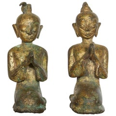 Pair of Miniature 19th Century Bronze Praying Monks from Thailand