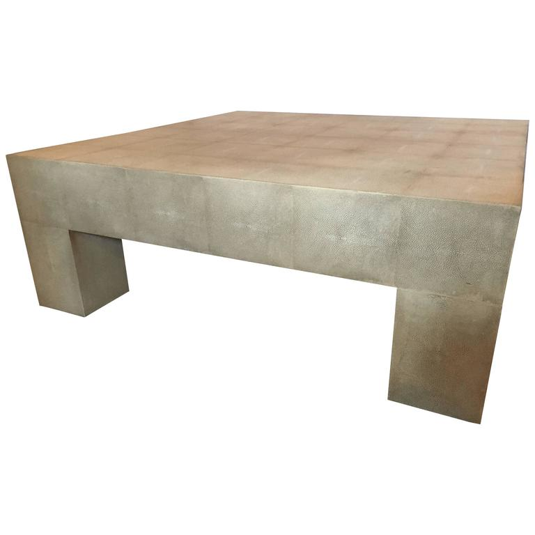 Palatial Karl Springer Style Linen Wrapped Coffee Table 1