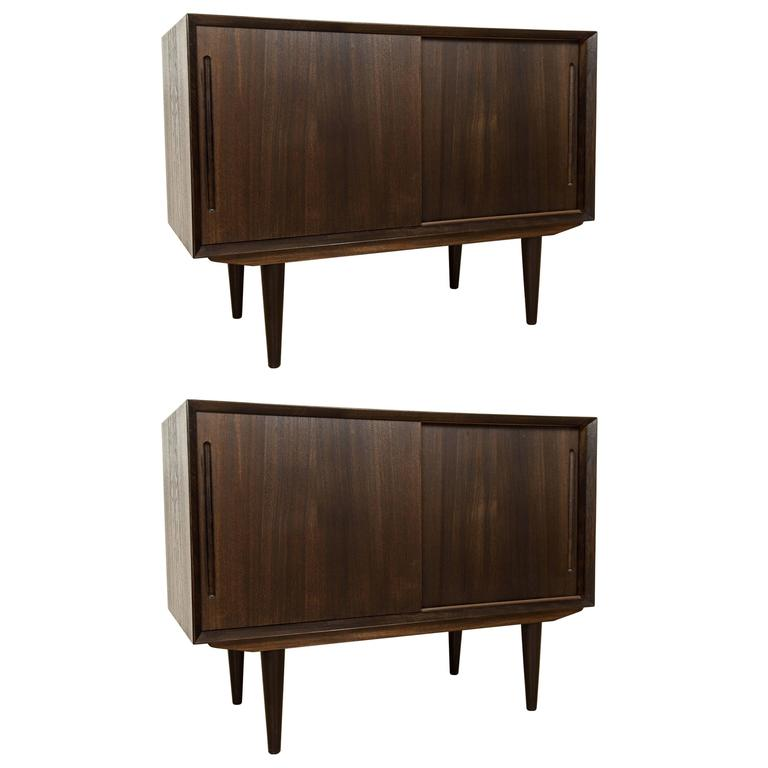 Pair of Danish Mid-Century Teak Cabinets For Sale