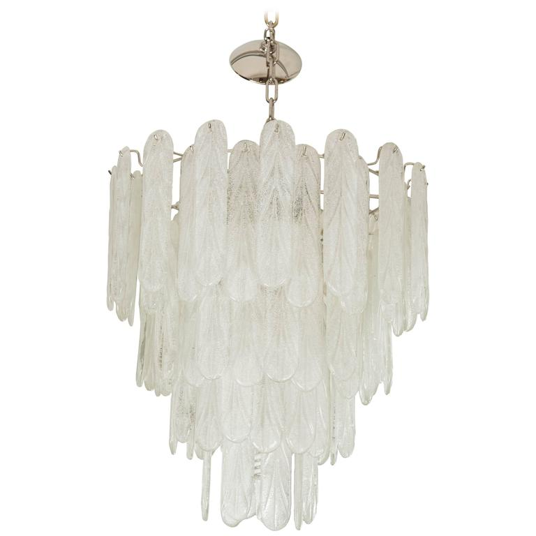 Large Murano Glass Pendant Light Attributed to A. V. Mazzega For Sale