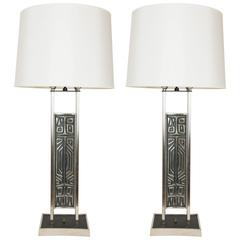 Pair of Tall Brutalist Style Table Lamps, USA, circa 1960