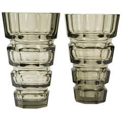 Pair of Art Deco Crystal Vases Attributed to Josef Hoffmann, circa 1930