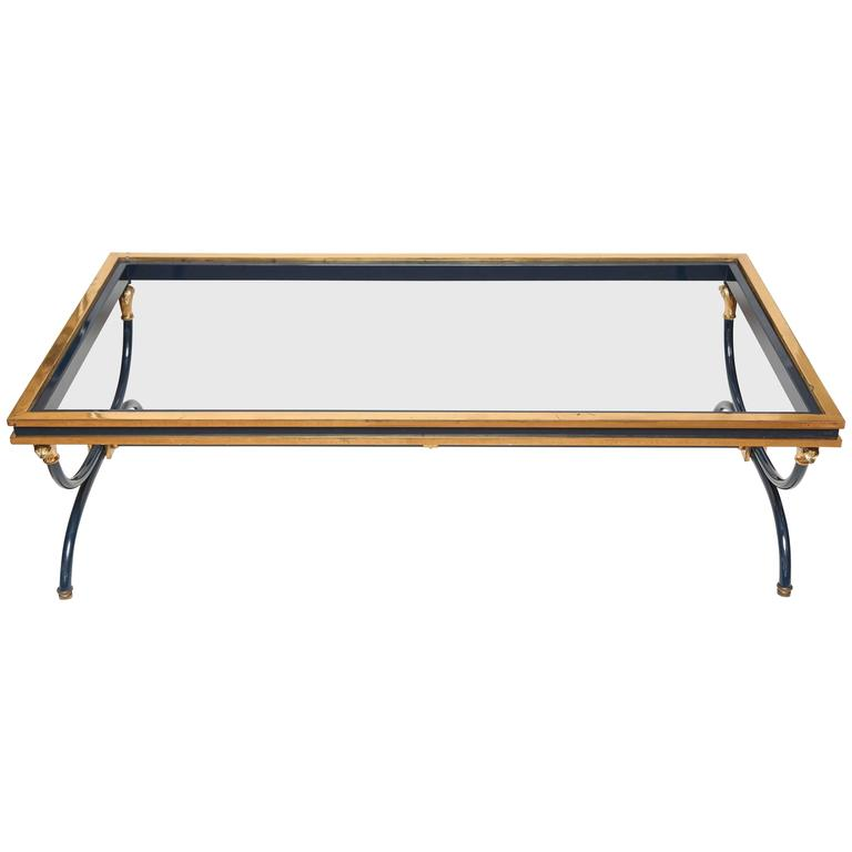 French Maison Jansen Style Coffee Table With Brass For