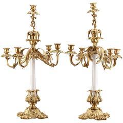French Brass Mounted White Opaline Candelabra