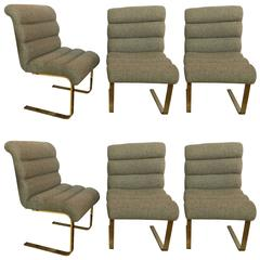 Group of Six Brass Based Spring Form Side Chairs for Dining Room